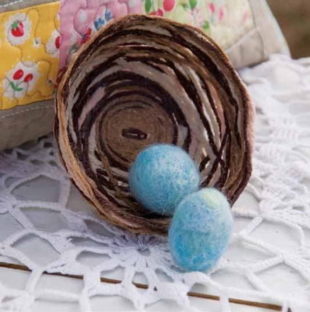 Fill basket with yarn, lightweight decorative balls or other ornamental items.