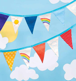 """This colorful """"Rainbow Bunting"""" is another fun project featured in Sewing For Kids."""